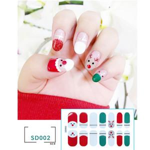 décorations de Noël 2020 mignon 14 autocollants transfrontaliers commerce extérieur nail art de Noël art complet des ongles autocollants accessoires de