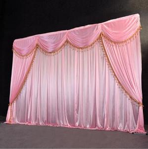 Rideau de toile de fond de mariage en velours de 3m * 6m avec toile de fond de swag / décoration de mariage rideaux de scène de soie de glace romantique