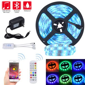 Luces de tira LED Strips RGB STRIPS 32.8FT LIGHT 300 LEDS SMD5050 Música impermeable Sincronización Color Cambiador + Bluetooth Controller + 24key Remote CO