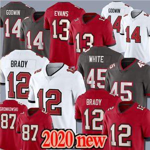 12 توم برادي TampaBayالقرصان جيرسي 87 روب غرونكوفسكي 13 مايك ايفانز 14 كريس غودوين 45 ديفين الأبيض لكرة القدم الفانيلة