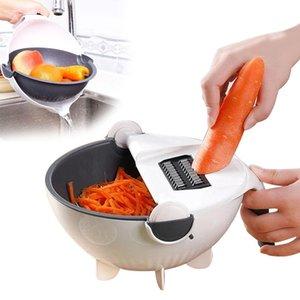 Multifuncional Fruit Vegetable cesta de lavagem Filtro Rotate vegetal cortador Com purga Basket criativa Drainer Kitchen Tools T200227