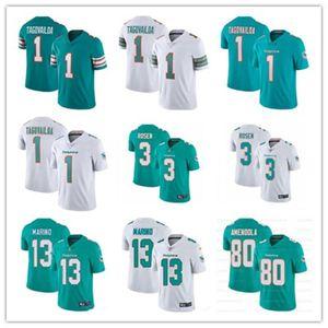 2020 nueva Mens MiamiDolphin 1 Tua Tagovailoa 13 Dan Marino 3 Josh Rosen 80 Danny Amendola fútbol jerseys