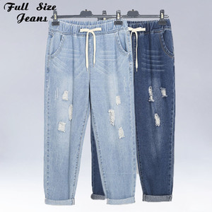 Plus Size Ripped Ankle Length Elastic Waist Denim Jeans Women 4Xl Boyfriend Streetwear Harem Pants Blue Girl'S Cotton Capris 200922