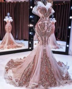 Nuevos vestidos de noche rosa sirena de oro brillante de lentejuelas larga apliques de cuentas de baile vestido de cola de pescado robe de soirée