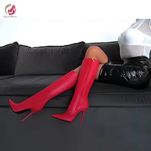 Intention originale hiver Cuissardes Noir Rouge Bleu Kaki Violet Bottes de haute qualité de Nice Talons Sexy Lady Chaussures Party