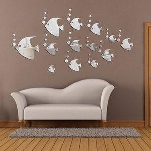 13 PCS DIY Gümüş Tropikal Balık Ayna Duvar Sticker Ev Duvar Süsleme Sticker