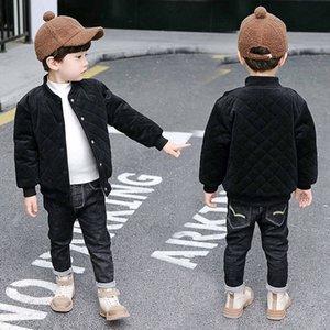Teen Boy del cappotto del rivestimento nero invernale Big Boys Corduroy sportivo tuta sportiva capretti supera solido caldo Outfit baseball bimbi