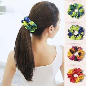 2020 Новая Радуга Сатин Scrunchies Tie-краситель для волос Кольца резиновые Ленты Эластичные ленты для волос Веревка тис Женщины девочек Аксессуары для волос