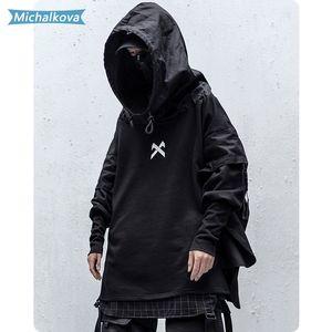 Japonês Hip Streetwear Man Hoodies Hop Embroideried pulôver Patchwork Falso Two DarkWear Tops Techwear Hoodies michalkova