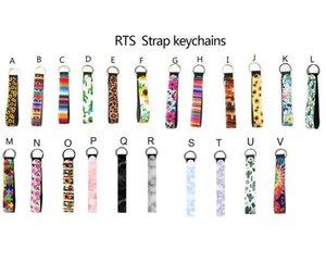 Nouveau Wristband Porte-clés imprimé floral porte-clés en néoprène Porte-clés Keychain Wristlet Party Favor 20 Designs gros bateau libre