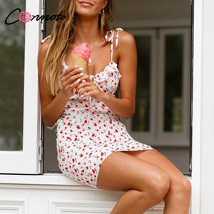 Conmoto Casual Floral Print Short Dress Women 2020 Summer Holiday Sexy Beach Chiffon Dress Femme Lace Up Vestidos