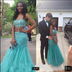 2021 Turquoise Two Piece Prom Dresses Beaded Tulle Mermaid Sweetheart Neckline Floor Length Evening Party Gowns Custom Made