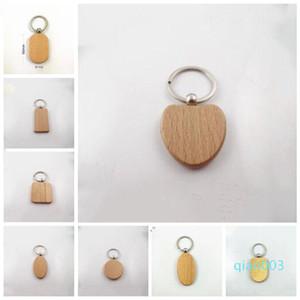DIY 사각형 광장 라운드 하트 모양 무료 배송 LXL934-1 조각 개인 새겨진 키 체인 사용자 정의 귀여운 빈 나무 열쇠 고리