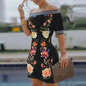 Slash Sexy cou Encolure robe d'été 2020 femmes élégantes manches courtes robes Bureau dames imprimé fleurs Mini robe Vestido