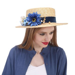 2020 100% Wheat Straw Women Summer Sun Hat Lady Beach Wide Brim Flat Boater Hat With Handmade Big Flower Size 56-58CM