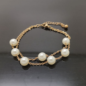 2020 designer new double titanium steel rose gold pearl bracelet simple small fresh wild sweet birthday gift jewelry wholesale