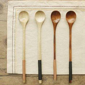 Coffer Spoons Manipulados Sobremesa Crianças de madeira de madeira Louça Colher de arroz colher de mistura Longo Soup CE2007 DcpAg