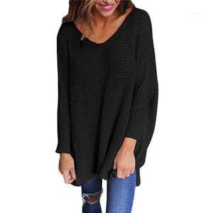 Women Split V Neck Sweater Pullover Long Sleeve Solid Color Loose Spring Autumn Famale Sweater