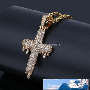 Hip Hop Iced Out Water Drop Cross Necklaces Pendants Gold Color Stainless Steel Chain For Women Men Christian Jewelry