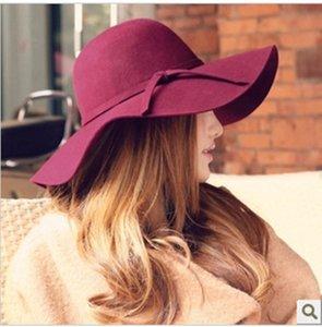 Nuovo stile britannico ha caratterizzato lana cornice bordo tutto-fiammifero cap cornice casuale cappello grandi Eaves il cappello della spiaggia delle donne della protezione di modo di lana yOOCI