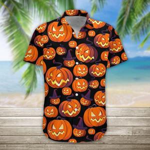 Men Ethnic Short Sleeve Shirts 2020 Summer Casual 3d Pumpkin Halloween Printing Hawaii Shirt Blouse Men's Beach Shirts #4