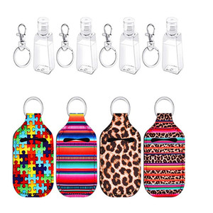 New Neoprene Keychain 30ML Hand Sanitizer Bottle Titular Bolsa Batom Titular Perfume sabonete Container Bottle Titular Acessórios Chaveiros