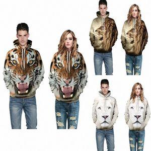 2017 New Lovers beiläufige Hoodies-Sweatshirt-Pullover Langarm-3D-Druck Tiger Löwe Pullover Herbst Winter Kleidung lose fre Detd #