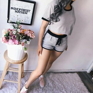 Summer Sports Tracksuit 2pcs Sets O Neck T shirt Short Sleeve Top And Drawstring Shorts Soft Jogging Gym Casual Suit 2019 New