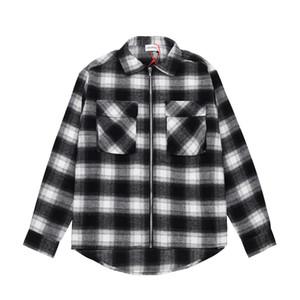 20FW Cargo Lattice молния рубашка с длинным рукавом Vintage куртка Пара женщин и мужские High Street Fashion Coat HFXHJK117