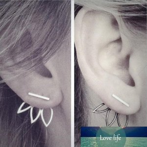 Simple Design Hollow Out Lotus Ear Studs Geometric Creative Alloy Flower Earrings Women Gold Silver Black Rose Gold Jewelry Gifts Accessory