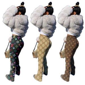 Para mujer Pantalones acampanados Desinger camuflaje Stacked pantalón Slim Fit mediados de cintura de Split Moda Famale Leggings casual de las señoras Pantalones C03