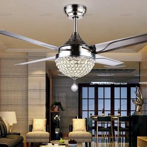44 «» Кристалл Потолочный вентилятор Свет с LED Light Kits дистанционного управления 4 лезвия из нержавеющей стали Современные люстры Подвесные лампы