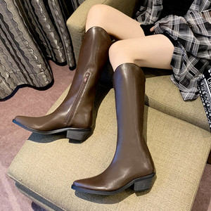 2020 spring autumn women's boots ladies High heels wedges boots for woman Knee-High knight Pointed Toe women shoes