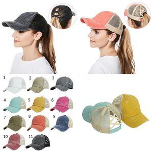 Criss Cross Ponytail Hat Washed Cotton Snapback Caps Messy Bun Summer Sun Visor Outdoor Hats DB027