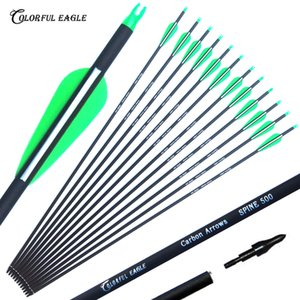 "New Carbon Seta 28 ""30"" 31"" Penas Archery Arrows Spine500 mutável Setas plásticas para a caça arco composto Arrows"