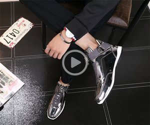 Heißen Verkauf-koreanischen trendy Modedesignerschuhe Silber gold schwarz glänzend hell Herr stilvoll roter Teppich bevorzugter Qualitätsschuh 32YU