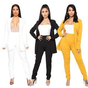 Mujeres de la chaqueta elegante traje de las señoras Traje de pantalones 2 pantalones pieza de negocios Oficina Mujer Sólido formal Plus Negro Blanco