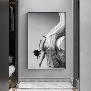 Canvas Painting Wall Posters and Prints Girl dancing in long dress Wall Art Pictures For Living Room Decoration Dining Restaurant Home Decor