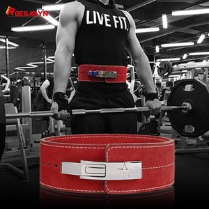ROEGADYN Gym Body Belt Waist Trainer Dip Gym Belt For Men Waist Support Leather Weight Lifting Belt Gym Back Support Fitness T200827