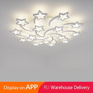 IRALAN LED Lustre moderne en étoile Living Chambre à distance / support APP Chambre Accueil modèle lustre design ICFW1913