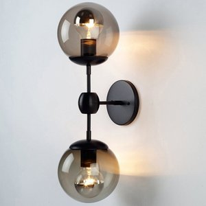 Industrial Vintage LED Glass Ball Wall Lamp Retro E27 Dual-head Living Room Sconces Bedroom Stair Cafe Hotel Kitchen Wall Lights