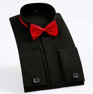 Hot-selling Long Sleeve Solid Slim Fit Men's Formal Dress Shirt Fancy Swallow Collar Groom Wedding Tuxedo Shirt