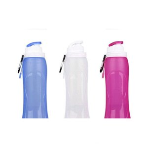 2018 foldable outdoor water Bottles 500ml food grade leafproof Silicone bottle Travel Sport Collapsible Water Bottles Foldable cups