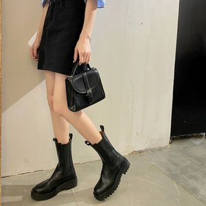 SHOFORT Motorcycle Boots 2020 Fashion Platform Thick Heel Mid Tube Boots Retro Soft All-match Heighten Winter Shoes Women