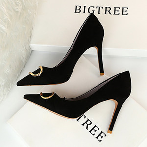 2021 New Fashion high heels women pumps thin heel classic white red nede beige sexy prom wedding shoes Blue Red wine