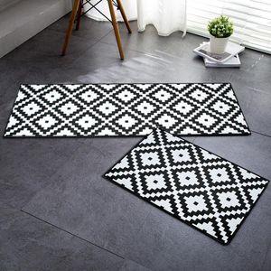 RAYUAN flanela preto e branco geométrica Kitchen Floor Mats Capacho longo Tapetes anti-derrapante Doormat Rug Home Decor