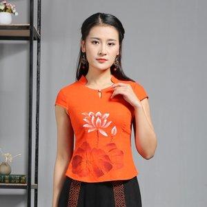ksxyN Qiantang etnik stil ince yaz pamuk ve keten Boncuklu milliyet üst milliyet baskılı kadın gömlek b elle boyanmış işlemeli