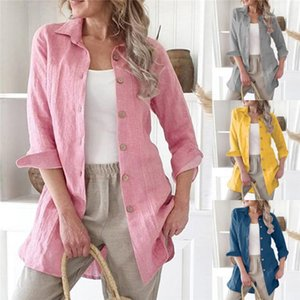 Womens Blouse Autumn Spring Solid Color Loose Womens Designer Shirts Long Sleeve Cardigan Linen Long Casual