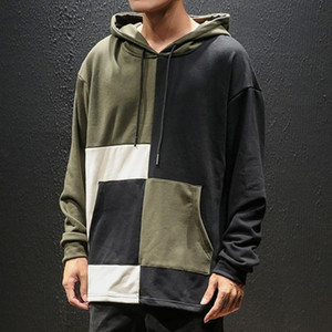 Mens Autumn Hoodies Patchwork Giapponese Streetwear Streetwear Hip-Hop Style Cucitura Cappello Cappello Confortevole manica lunga Top Outwear