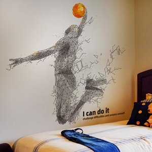 [SHIJUEHEZI] Playing Basketball Wall Sticker Creative Ball Player Sports Wall Decals for Living Room Kids Room House Decoration